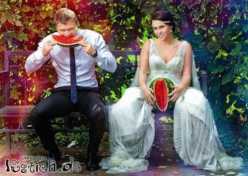 Hochzeitfoto mit Wassermelone