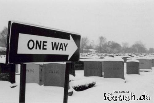 Einbahnstraße zum Friedhof