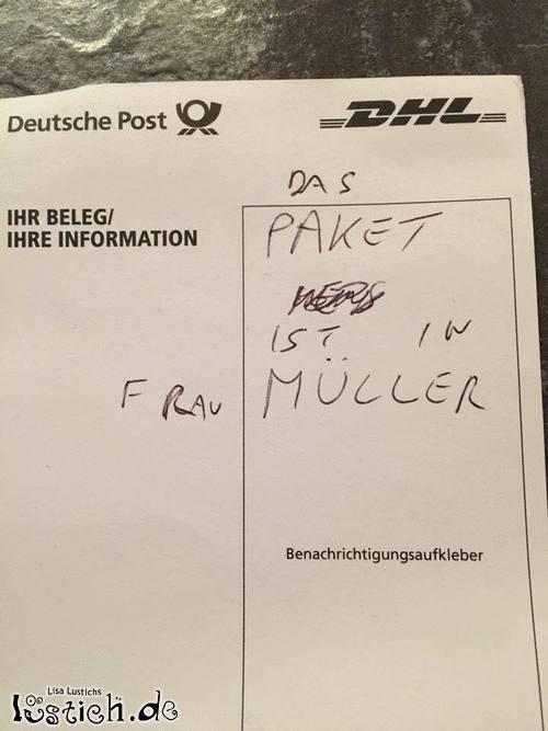 Paket ist in Frau Müller